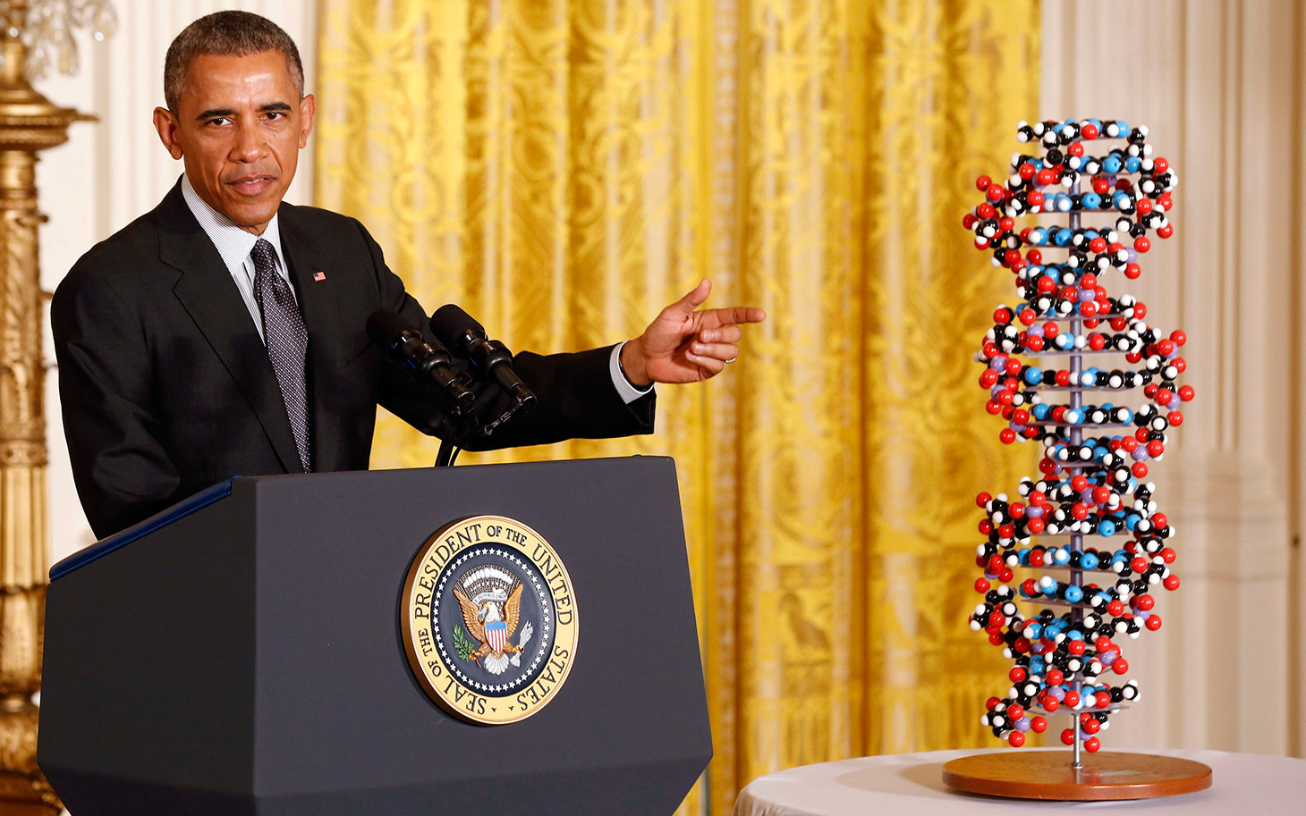 Obama makes remarks highlighting investments to improve health and treat disease through precision medicine while in the East Room of the White House in Washington
